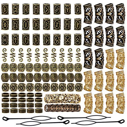 YMHPRIDE 110 piezas de cuentas de barba vikinga, cuentas de tubo de pelo nórdicas antiguas, cuentas de rastas para trenzar el cabello, pulsera, colgante, collar, plata, decoración del cabello