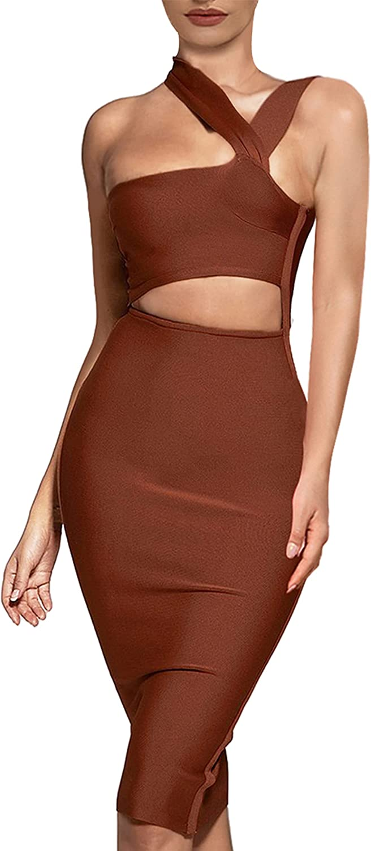 UONBOX Women's Cutout One Shoulder Bodycon Midi Dress Evening Party Club Bandage Dress