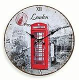 Reloj De Pared De Madera 29cm–Diseño: Inglaterra Londres Cabina Telefónica–Reloj de Cocina Reloj números Romanos–Reloj de Cuarzo