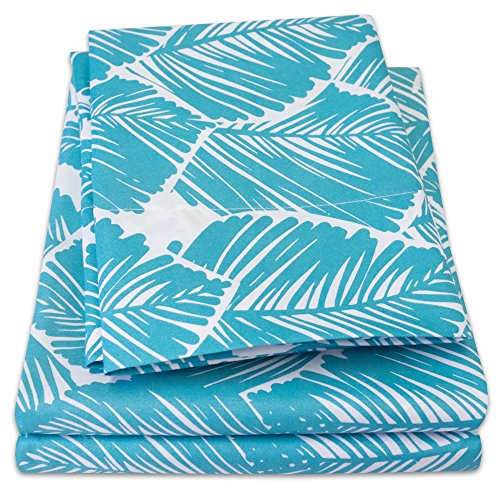 1500 Supreme Collection Extra Soft Tropical Leaf Teal Pattern Sheet Set, Queen - Luxury Bed Sheets Set with Deep Pocket Wrinkle Free Hypoallergenic Bedding, Trending Printed Pattern, Queen Size