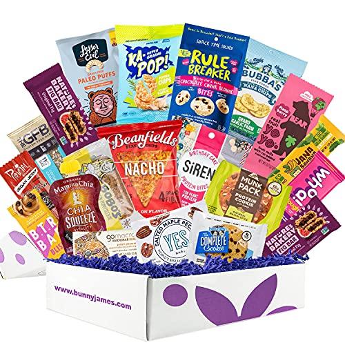 Healthy Vegan Snacks Care Package: Mix of Vegan Cookies, Protein Bars, Chips, Vegan Jerky, Fruit & Nut Snacks, Great Vegan Gift Basket Alternative