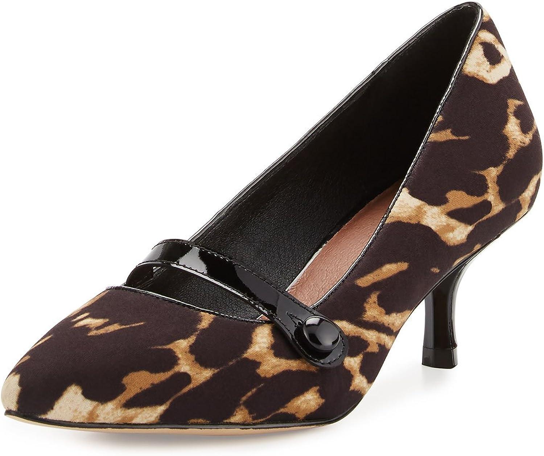 Donald J Pliner Gracey Mid-Heel Mary Jane Pump, Black Leopard 6.5