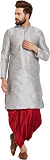 Sojanya (Since 1958) Men's Grey and Maroon Dupion Silk Dhoti Kurta Set