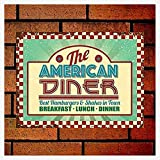 PixDecor The American Diner. Roadside Cafe, 50's, 60's Dinner Sign Retro Metal Sign 8X12 Wall Decor Retro Metal Sign