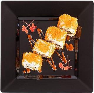 "Black Plastic Dinner Plate, Square Plastic Dinner Plate - 8.2"" - Square - Premium Plastic - White - Disposable - 100ct Box..."