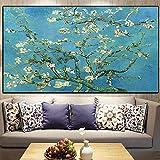 SXXRZA Pintura de Arte 60x120 cm sin Marco Flor de Almendro Van Gogh Cartel impresionista impresión Cuadros decoración de Sala de Estar Cuadro de Arte de Pared