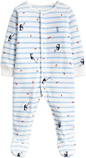 Joules Baby Velour Babygrow - Blue Stripe Fishing