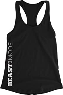 Beast Mode Workout Tank Top Motivational Quote on Side Women's Exercise Tops