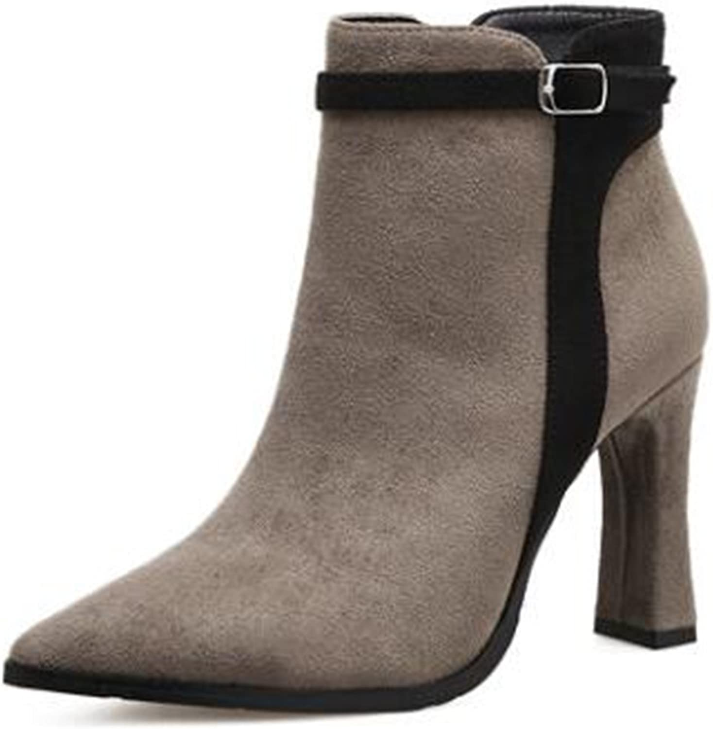 COVOYYAR Women's Winter Buckle Pointed Toe Thick Heel Ankle Boots High Heel shoes