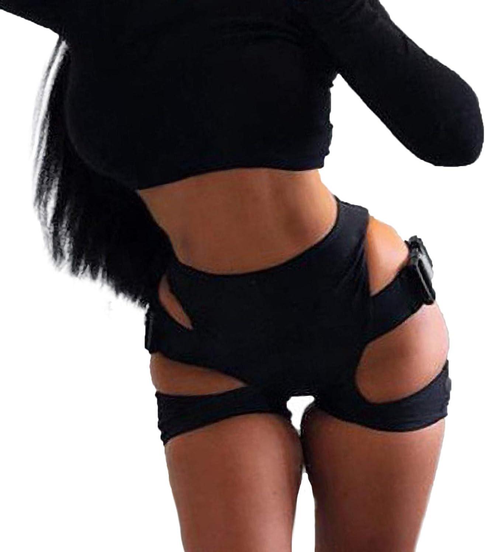 FUNEY Women's Short Yoga High Waist Workout Running Short Sexy Bandage Buckle Shorts Skinny Clubwear Bodycon Trackpants