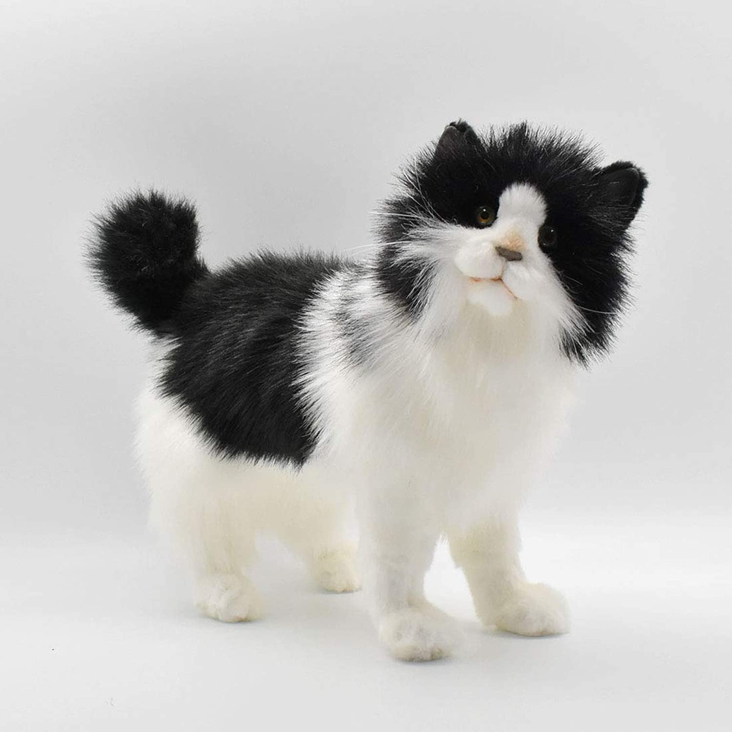 Standing Black & White Cat Plush Soft Toy by Hansa. 27cm.4221