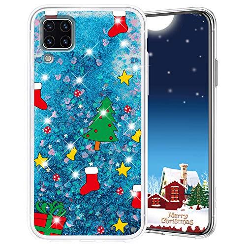 Misstars Weihnachten Handyhülle für Huawei P40 Lite, 3D Kreativ Glitzer Flüssig Transparent Weich Silikon TPU Bumper mit Weihnachtsbaum Muster Design Anti-kratzt Schutzhülle für Huawei P40 Lite
