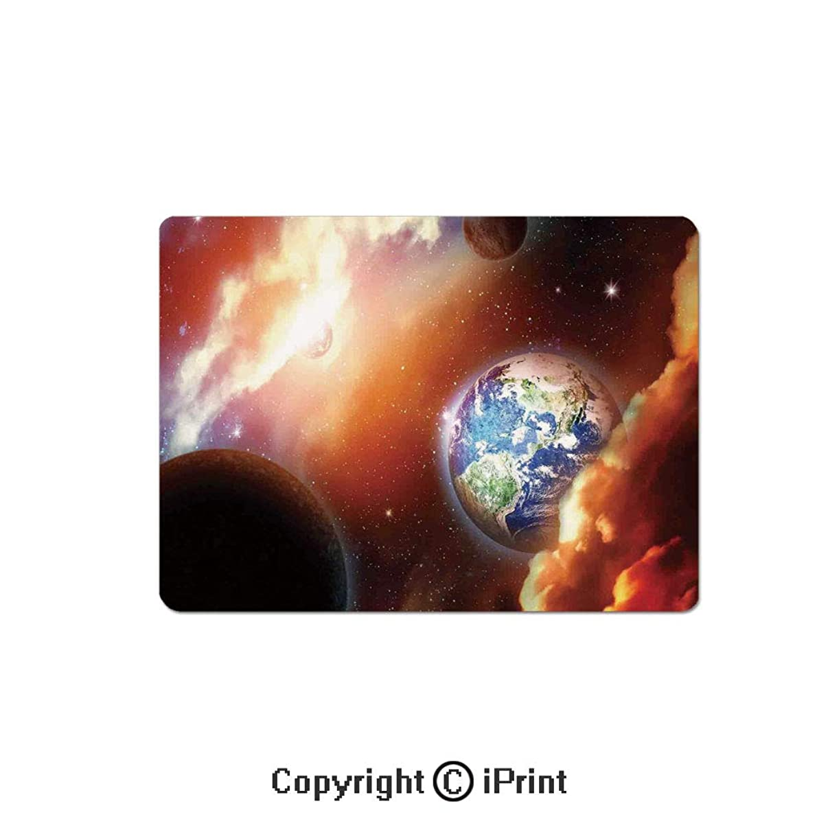 Oversized Mouse Pad,Dust Cloud Nebula Stars in Solar System Scene with Planet Earth Pluto and Neptune Gaming Keyboard Pad,9.8x11.8 inch Non-Slip Office Computer Desk Mat,Orange Blue