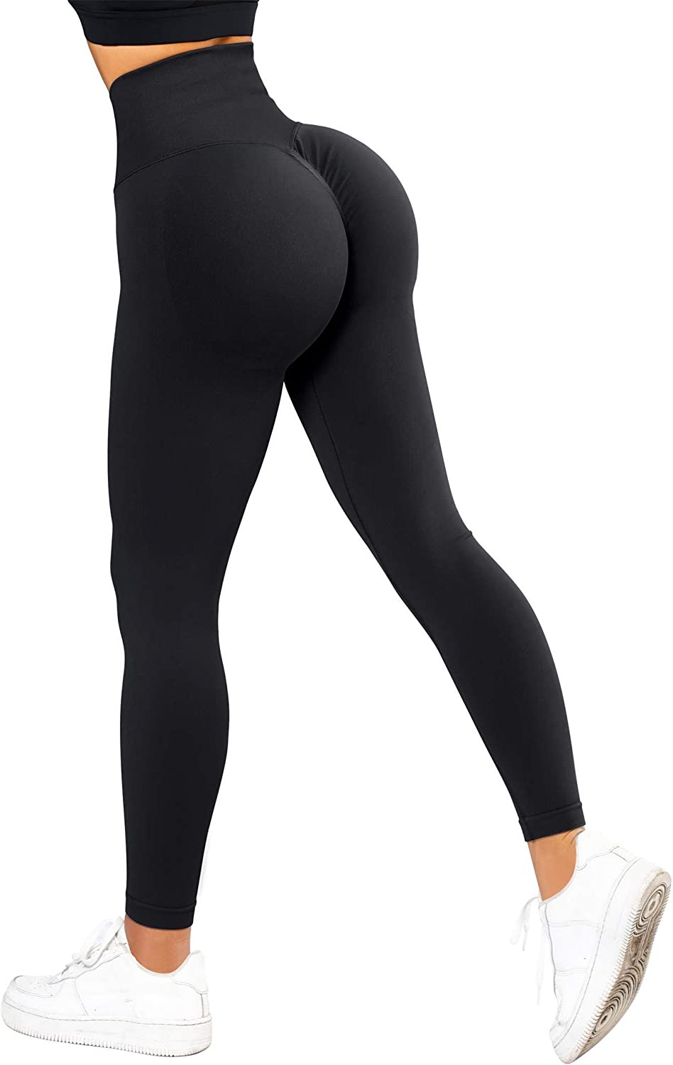 RXRXCOCO Womens High Waist Tummy Control Leggings Ruched Butt Lift Yoga Pants Workout Tights