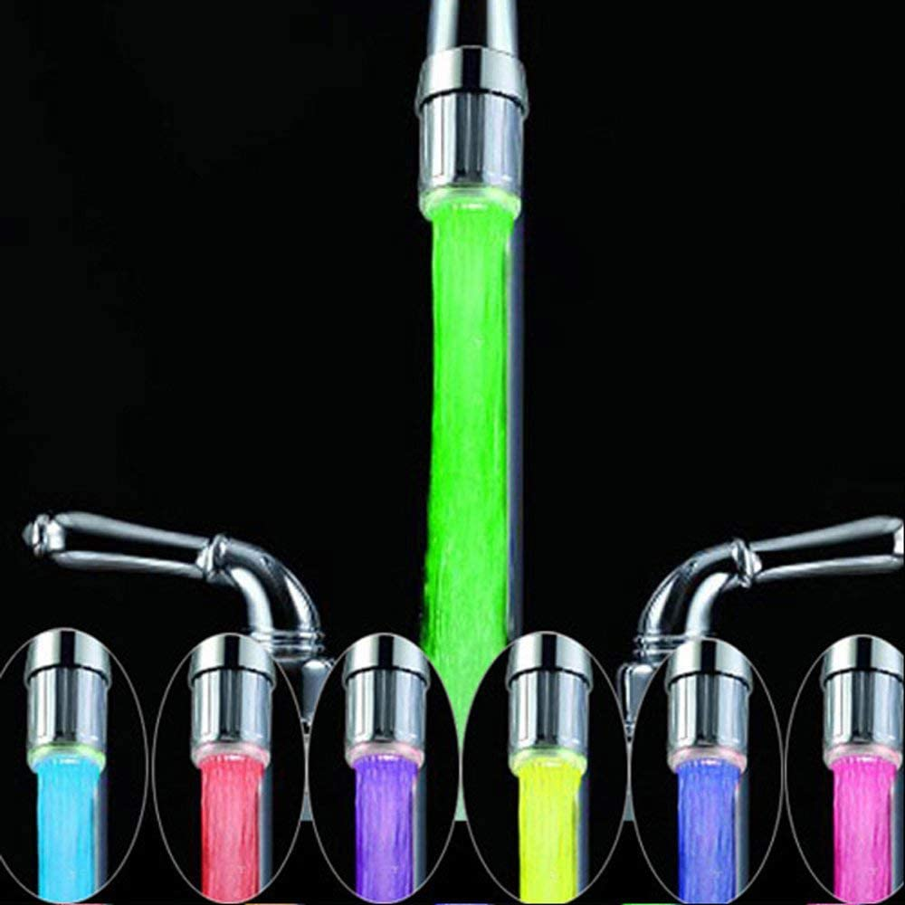 N / A Paquete de 2 grifos de Agua LED Coloridos con 7 Colores cambiantes, RC-F03 Grifo de Agua Corriente para cocinas y baños.