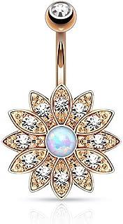 OULII Piercing Ombelico Cristallo Fiore (Oro Rosa)
