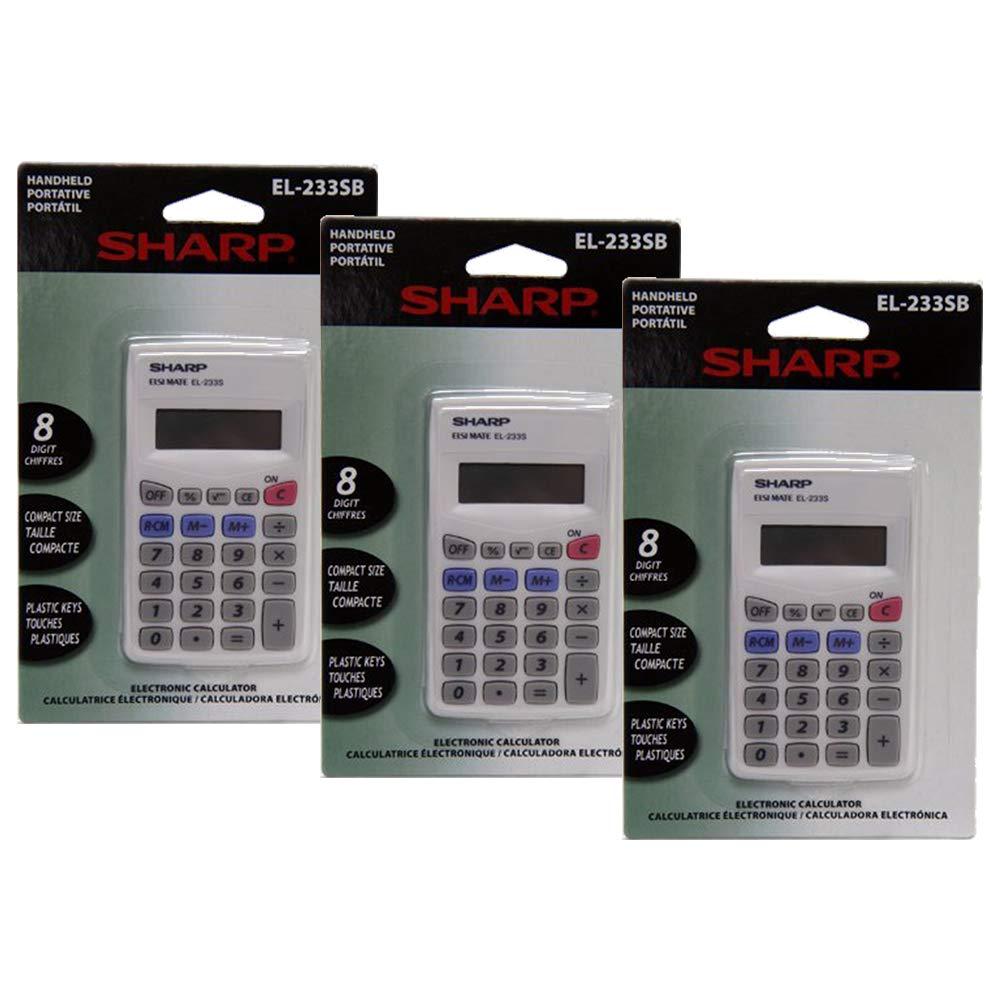 3 Pack Value Bundle OFFicial mail order SHREL233SB Ranking TOP19 Calculator Pocket EL233SB 8-Di