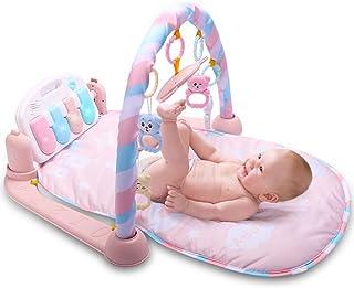 Ruier-tong ベビージム プレイマット ピアノ 音楽付き あんよでキック おもちゃ付き ベッドメリー 取り外す可能 赤ちゃんジム 0ヶ月から対象 デラックスジム 知育おもちゃ 幼児用寝具 出産祝い 新生児