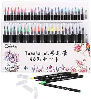 Teaaha 水彩毛筆 48色セット カラー筆ペン水彩ペン 塗り絵 アートマーカー 美術用 事務用 画材 子供用画材 収納ケース付き