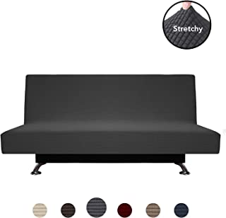 PureFit Stretch Futon Sofa Slipcover – Spandex Jacquard Anti-Slip Soft Couch Sofa Cover Without Armrest,Washable Furniture Protector with Elastic Bottom for Kids (Futon, Dark Gray)