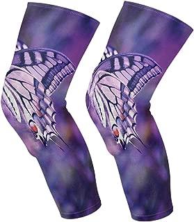 Knee Sleeve Purple Butterfly Full Leg Brace Compression Long Sleeves Pads Socks for Meniscus Tear, Arthritis, Running, Workout, Basketball, Sports, Men and Women 1 Pair