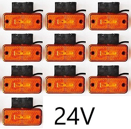 10 x 24 V Orange Ambre 3 LED latérales Feux de gabarit + supports en caoutchouc pour camion benne Camion caravane Camper Van Bus