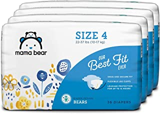 Amazon Brand - Mama Bear Best Fit Diapers Size 4, 144 Count, Bears Print (4 packs of 36) [Packaging May Vary]
