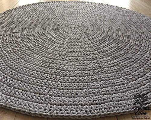 Rund Teppich grau 120 cm durchmesser
