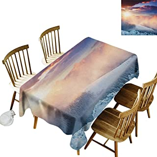 kangkaishi Washable Long Tablecloth Dinner Picnic Home Decor Fantastic Snowy Photography Winter Landscape Carpathian Region Ukraine Europe W52 x L70 Inch Peach White Blue