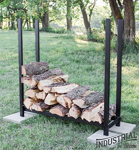 100% Steel Deluxe 4-ft Firewood Log Rack – Heavy Duty – Holds Over 30 Cubic Ft of Firewood – Indoor/Outdoor – – Step-by-Step Instructions w/Wrench Included