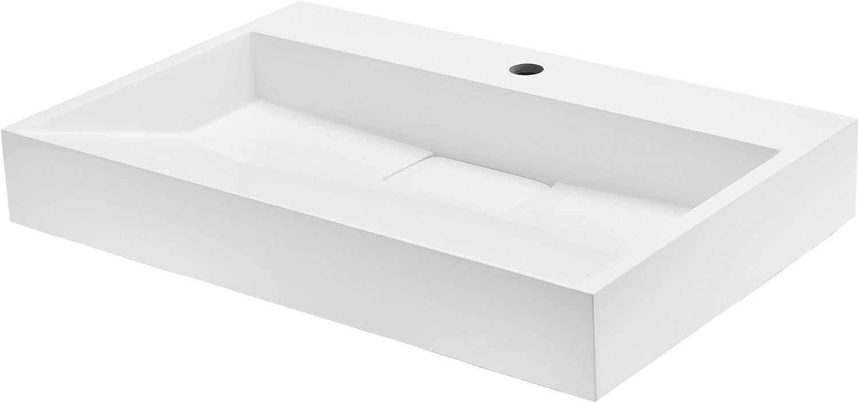 [neu.haus] Waschbecken aus Mineralguss (70x46cm) wei Aufsatzwaschbecken Stand Gste-WC