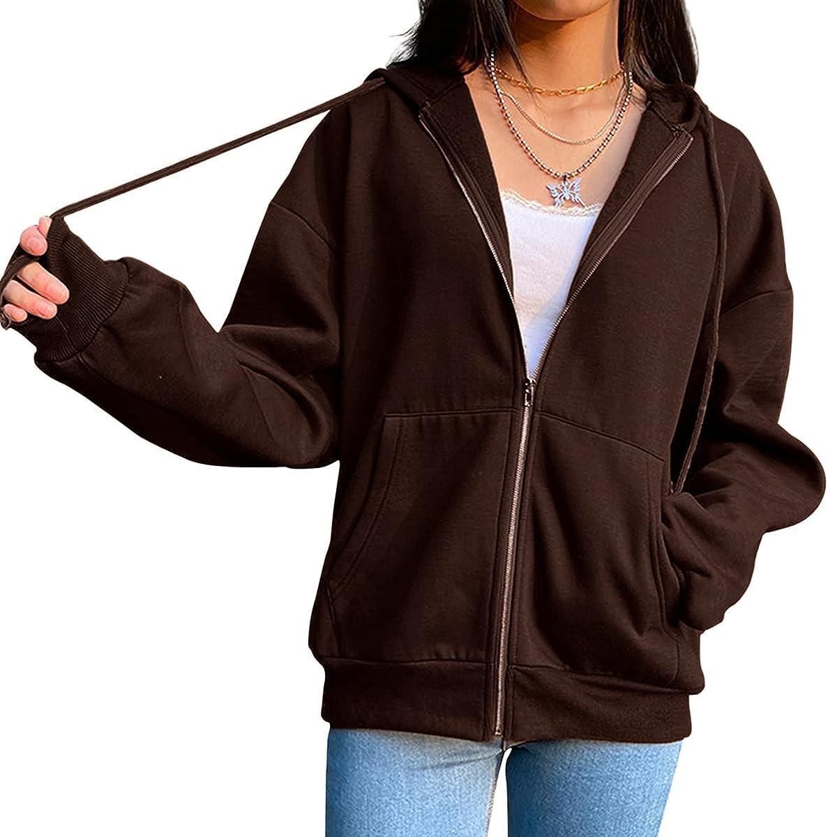 Meladyan Women Y2K Aesthetic Oversized Zip Up Hoodie Solid Fleece Long Sleeve Kangaroo Pocket Sweatshirt Jacket Pullover
