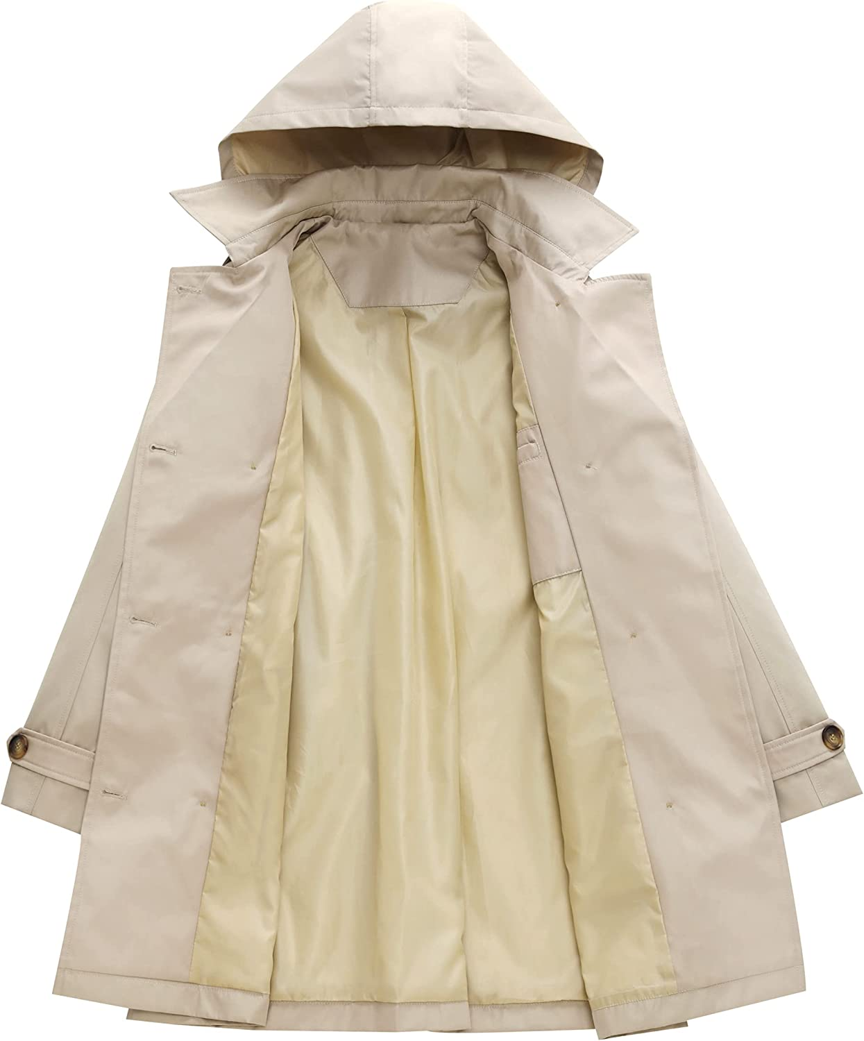 Women's Double Breasted Trench Coats Mid-Length Belted Overcoat Long Dress Jacket with Detachable Hood