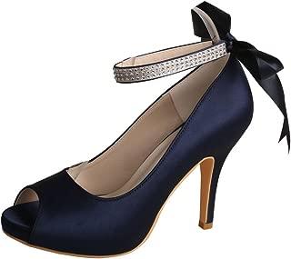 MW567 Women's Platform Peep Toe High Heel Satin Bridal Wedding Shoes
