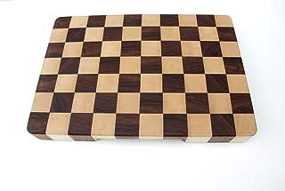 Tagliere professionale in legno massello a scacchi, con incavi per una facile presa, 40 x 28 x 4 Cm. gommini antiscivolo