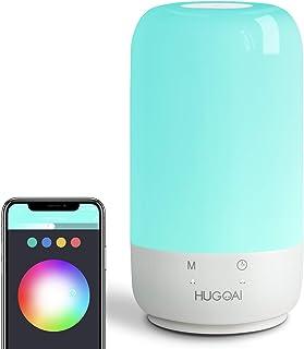 لامپ میز هوشمند ، لامپ های کنار تخت HUGOAI Touch ، سازگار با الکسا و گوگل هوم ، لامپ های LED برای اتاق های خواب با چراغ های سفید کم نور و رنگ های پر جنب و جوش ، بدون توپی (سفید)