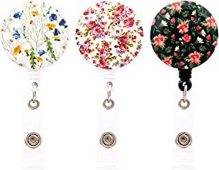 HEYGOO Floral Series Retractable Badge Holder, ID Badge Reel Cord with Alligator Clip (3 Pack)