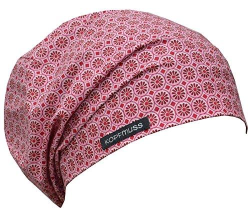 Kopfmuss - leichte, ungefütterte Sommermütze- S, blumenkette rosa/rot