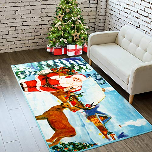 Goffee Christmas Area Rugs Santa Claus Indoor Rug for Xmas Holiday Decoration, Non-Slip Xmas Cute Deer Door Mat Christmas Welcome Carpet for Bedroom Living Room Kitchen Fireplace, 3ft x 5ft