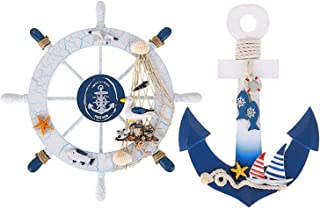 """Meching 2 Pack 11"""" Nautical Decor Beach Wooden Ship Wheel and Wood Anchor with Rope.."""