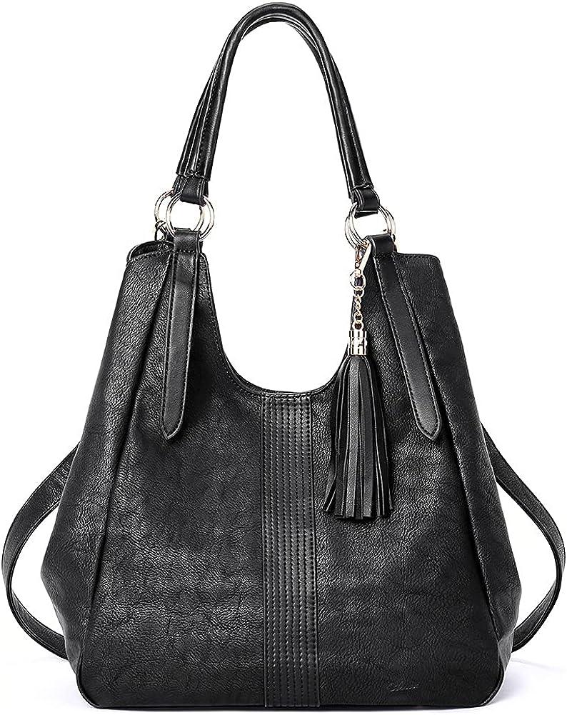 CLUCI Hobo Bags for Women Large Purse Ladies Handbag Leather Designer Shoulder Bag with Tassel