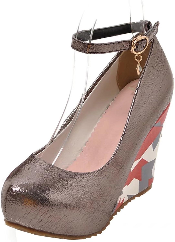 AIYOUMEI Women's Ankle Strap High Heels Platform Wedges with Rhinestones