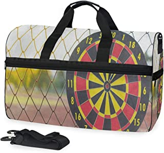 Travel Tote Luggage Weekender Duffle Bag, Blue Arrow Dartboard Large Canvas shoulder bag with Shoe Compartment