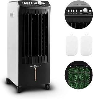 oneConcept MCH-1 V2 - Enfriador portátil- Ventilador refrescante- 3-EN-1: enfría ventila humidifica- 65W- 400m³-h- Tanque 7L- Movilidad con ruedas y asas- 3 niveles- Negro-blanco