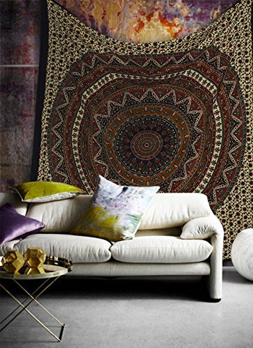 Popular Handicrafts Hippie Mandala Bohemian Psychedelic Intricate Floral Design Indian Bedspread Magical Thinking Tapestry 84x90 Inches,(215x230cms) Green Red