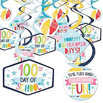 Big Dot of Happiness Happy 100th Day of School - 100 Days Party Hanging Decor - Party Decoration Swirls - Set of 40