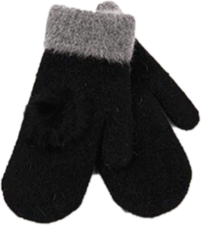 Samantha Warm Gloves Female Winter Warm Knitted Wool Thicker Cashmere Velvet Mittens Ladies Cute Rabbit Hair Ball Fingerless Women Gloves (Color : Black, Size : One Size)