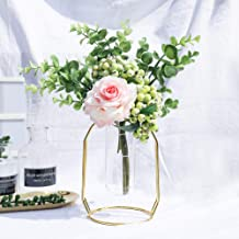 Artificial Flowers with Gold Vase Set 1 Piece, Flower Arrangements Fake Rose Berry..