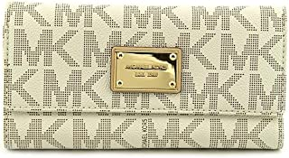 Michael Kors Womens Jet Set Checkbook Wallet PVC Clutch Baguette