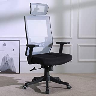 TKEY Ergonomic High Back Mesh Office Chair with Adjustable Armrest Lumbar Support Headrest Recliner Swivel Task Desk Chair Computer Chair Guest Chairs Reception Chairs (Grey 2)